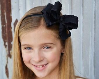 Black double ruffle boutique bow headband, toddler girls tween headband,back to school uniform headband, special occasion holiday headband