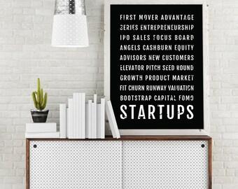 Startup Inspirational Print   Home Office Art   Subway Poster, Boyfriend  Gift, Husband Gift
