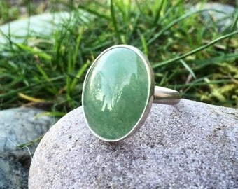 Aventurine Ring, Size 9, Sterling Silver