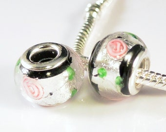 SALE - 2pcs Murano Glass Beads Lampwork Silver Core Large Hole Fits European & Charm Bracelets - Silver Foil Rose