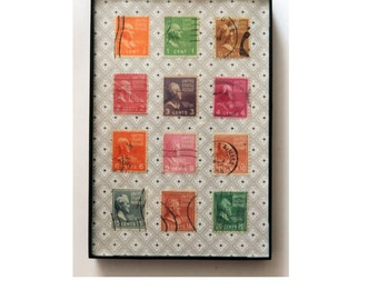 US Presidential Postage Stamp Collage