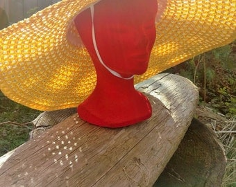 Vintage 70's Floppy Yellow Garden Party Sunhat