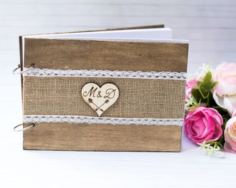 Wedding Guest Book Rustic Wedding Guestbook Rustic Wooden Guest Book Burlap Guest Book Personalized Wedding Book