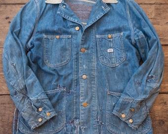 """Lee 81-LJ True Vintage 1950's Workwear Chore Lined Denim Jacket. Mens 40"""" Medium. HW25"""