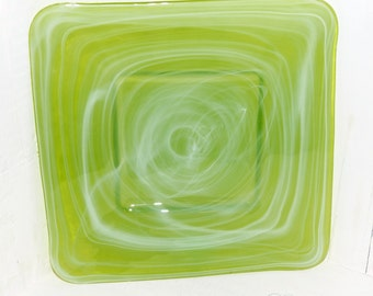 Glass Plate Green and White Swirl - 232