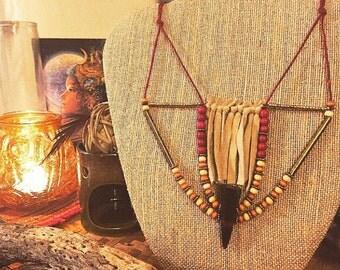 Necklace - Red Hemp , Brass, Suede Fringe, Wood Beads, Horn/Antler