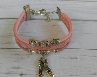 Ballet Bracelet// Team Colors// Ballet Mom// Ballet Coach// Ballet Gift// Custom Sports Bracelet for Girls// Choose Colors & Charm
