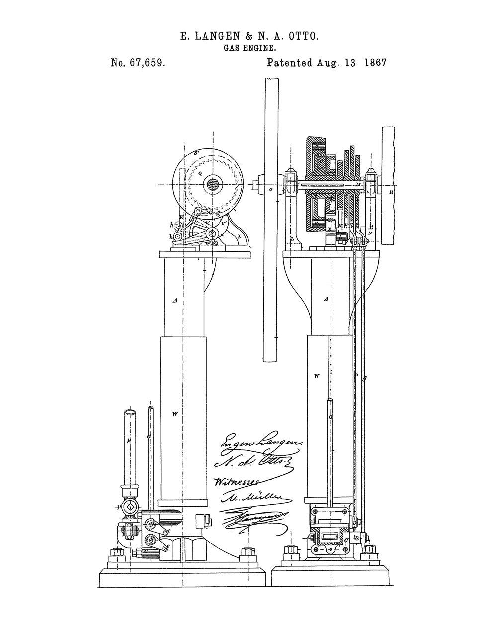 langen otto improvements in air engines patent art print. Black Bedroom Furniture Sets. Home Design Ideas