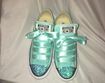 Swarovski Crystal Converse Sneakers NEW Size 6 Women's Rhinestones Tennis Shoes Blue