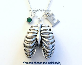 Rib Cage Necklace, Human Ribcage Jewelry, Gift for RT Gothic Goth pendant charm Initial Birthstone present Long Short Sterling Silver Chain