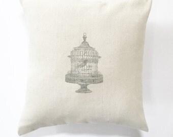 Bird Cage French Grain Sack Pillow Cover - cotton canvas