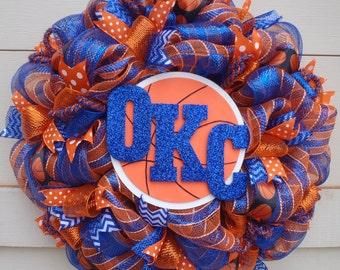 Thunder wreath, OKC wreath, OKC Thunder wreath, Thunder basketball wreath, OKC basketball wreath