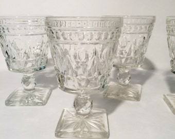 Indiana Colony Park lane Clear Glass Square Footed drinking glasses, Vintage Indiana Glass