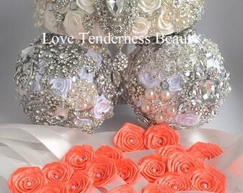 Fabric flower wedding bouquet, Brooch bouquet, Brides bouquet, Wedding dress, Silver Rhinestone Wedding Bouquet,  Ivory crystal bouquet