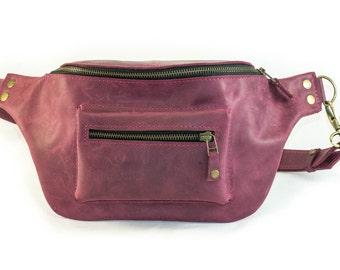 Leather waist bag, hip bag, leather fanny pack, belt pack waistpack, leather butt pack bag, handmade. 07002