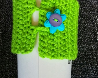 Bright Green Cup Cozy with Flower Button