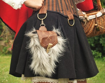 SteamPunk/Viking/Larp Leather and Fake fur Pouch