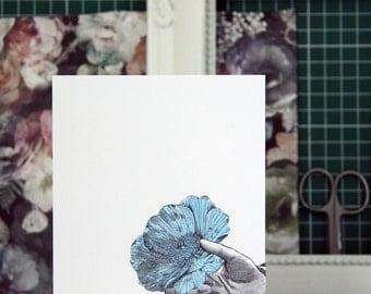Cornflower 19th Century Collage Greetings Card