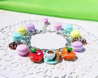 Cute Charm Bracelet with sweets Macaroon  Berry Cake  Eclairs and miniature cup of coffee handmade of polymer clay   Gift for girls