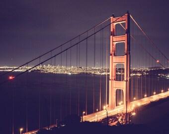 san francisco photography golden gate bridge at night photo bridge photography San Francisco wall art california photo