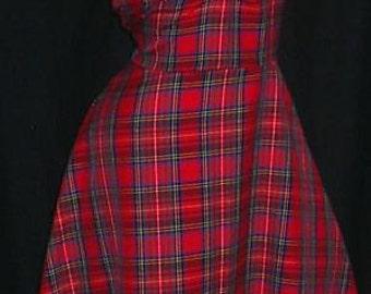 1940's dress, Tartan dress, vintage style, handmade, sizes 6-26, tea dress, dance, swing, wartime, Christmas, red
