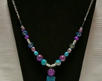 Blue & Purple Paired Together to Make This Pendant Necklace