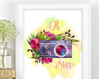 Camera Print, Oh Snap, Watercolor Camera Printable Wall Art