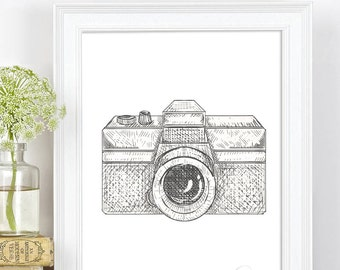 Camera Print, Black and White Camera, Camera Printable Wall Art