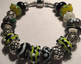 Lime Green, Black and White European Style Bracelet