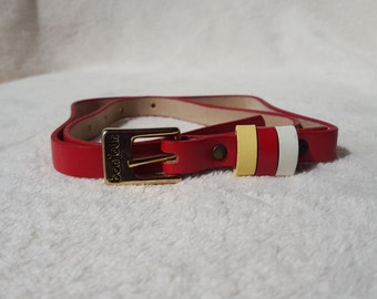 Red Leather Belt, Bon Jour. Belt, Vintage Belt, Womens Vintage Belt, Womens Belt, Vintage Red Belt, Ladies Belt, Ladies Red Belt