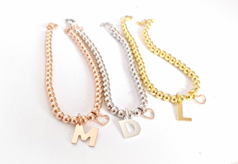 initial charm bracelet letter bracelet sterling silver