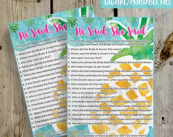 PRINTABLE Tropical Pineapple He Said She Said Bridal Shower Game Fill In - DIY Instant Download He Said She Said Game Digital File - 5x7