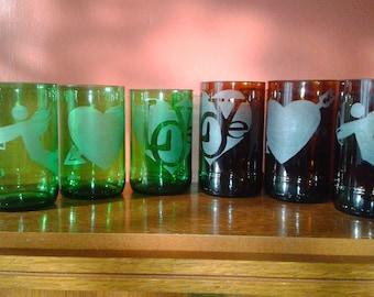 Love Themed Individual Glassware