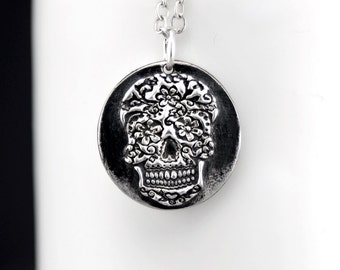 Halloween Skull Necklace - Silver Skull Jewelry  - Sugar Skull Pendant Necklace - Day of the Dead Jewelry - Silver Skull Charm - Under 50