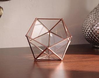 Petit terrarium à facettes en verre. Boîte à bijoux ou boîte à anneaux. Icosaèdre. Géométrique. Plante. Cactus. Décor table Noël. Cadeau