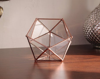 Little glass terrarium, jewelry box or rings box for wedding ! Icosahedron. Geometric. Minigarden. Cactus. Christmas table decor. Gift