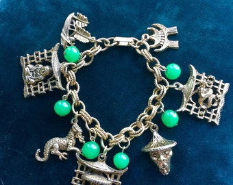 Vintage Asian/Oriental dragon buddha charm bracelet, Good Luck, Protection, Talisman, Gift, Jewelry, Jewellery, Statement, Strength, Love