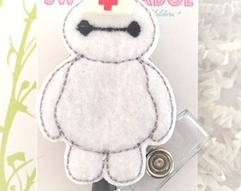 Feltie Badge Reel - Baymax -  Badge Holder - Retractable Badge Reel - ID Badge Clip - Nurse - RN Badge -  Badge - Mysweetbadge