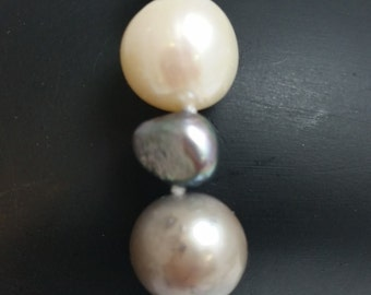 GENUINE FRESHWATER PEARLS - Black, White and Silver Baroque Pearls  available in Bracelet,Earrings and Necklace