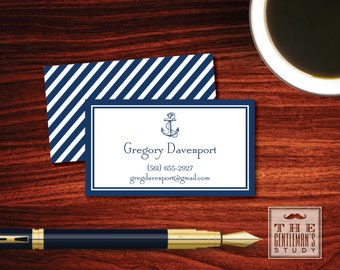 Anchor Calling Cards - Nautical Personal Business Cards - Masculine Contact Cards - Phone Email Instagram - for Gentleman or Yachtsman