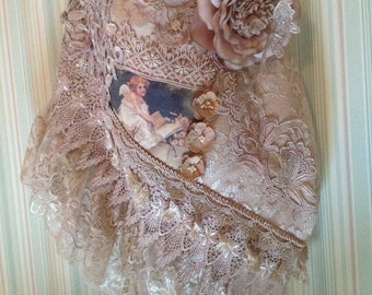 Hand dyed lace soft shabby chic bag