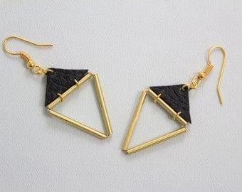 Triangle Earrings • Geometric Earrings • Brass Tube Triangle Earrings • Geometric Earrings • Minimalist Earrings • Black Earrings • UK