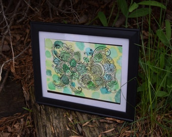 Dotty Mandala Original 5x7 Watercolor Painting