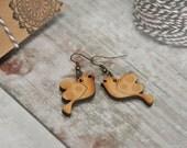 Wooden Bird  Drop Earrings
