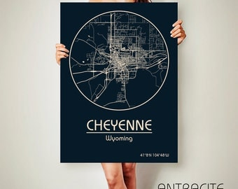 CHEYENNE Wyoming CANVAS Map Cheyenne Wyoming Poster City Map Cheyenne Wyoming Art Print Cheyenne Wyoming poster Cheyenne