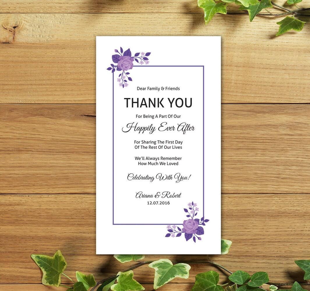 DIY Wedding Thank You Card Template Printable Thank you