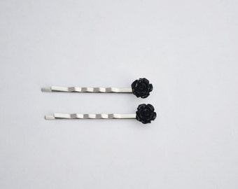 Black Rose Bobby Pins