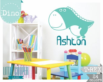 Boys T-Rex Dinosaur and Name Vinyl Wall Decal Sticker_Large_For Nursery or Kids Room_ID#1346
