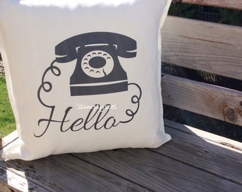 Hello telephone 20x20 pillow cover