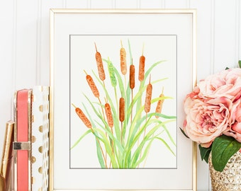 No. 68 Watercolor cattail, bulrush printable, botanical cattail, wall decor, instant download